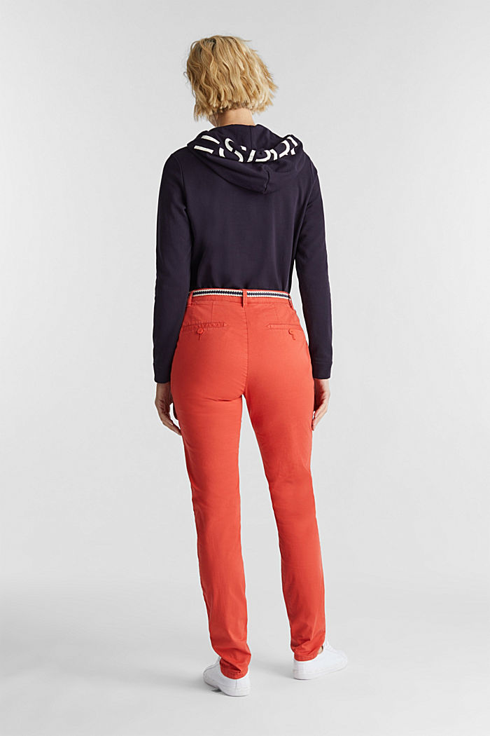 Summer chinos with belt and stretch, CORAL, detail image number 3