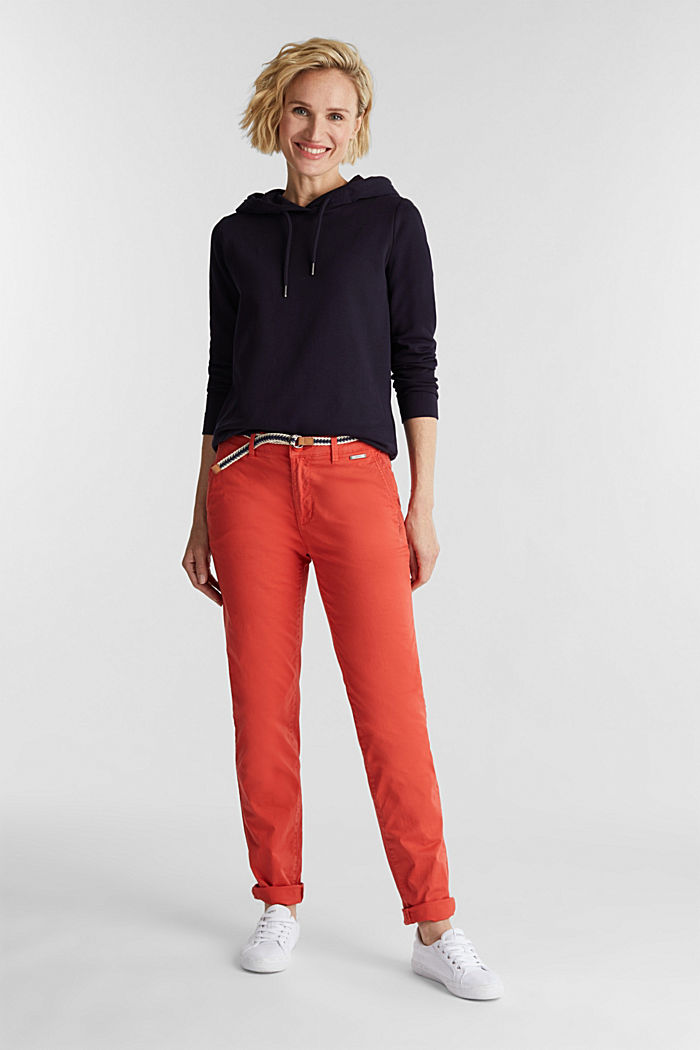 Summer chinos with belt and stretch, CORAL, detail image number 1
