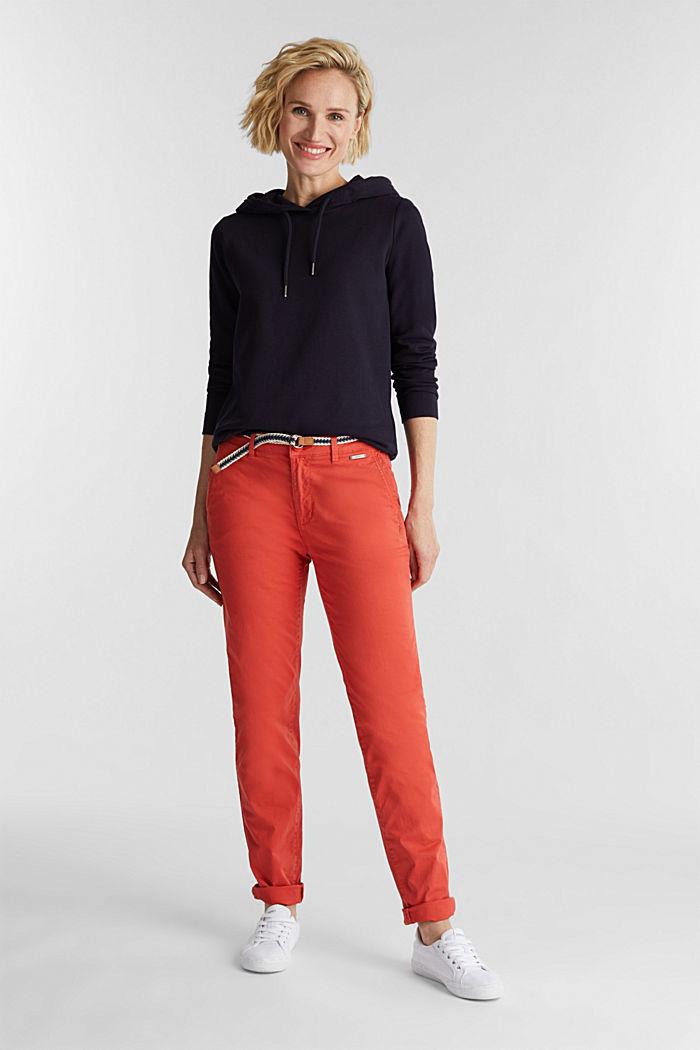 Pantalón chino veraniego con cinturón y componente elástico, CORAL, detail image number 1