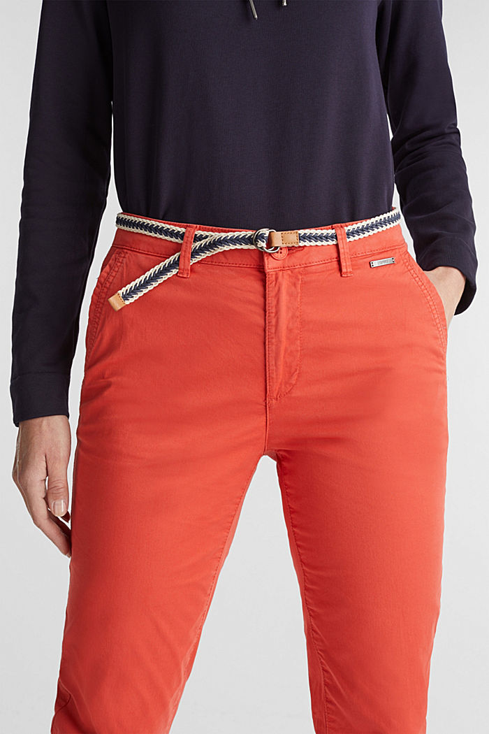 Summer chinos with belt and stretch, CORAL, detail image number 2