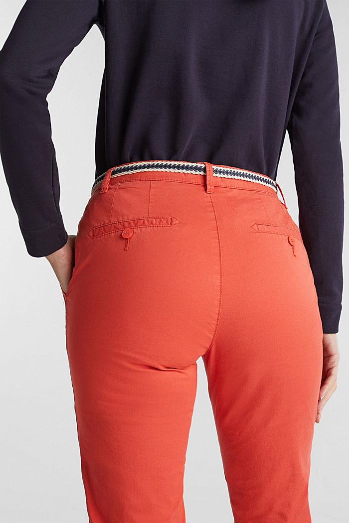 Pantalón chino veraniego con cinturón y componente elástico, CORAL, detail image number 5