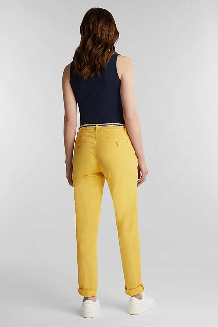 Summer chinos with belt and stretch, YELLOW, detail image number 3