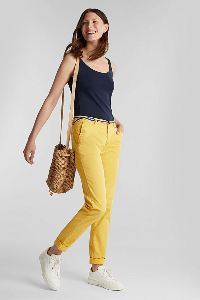 Summer chinos with belt and stretch, YELLOW, detail image number 1
