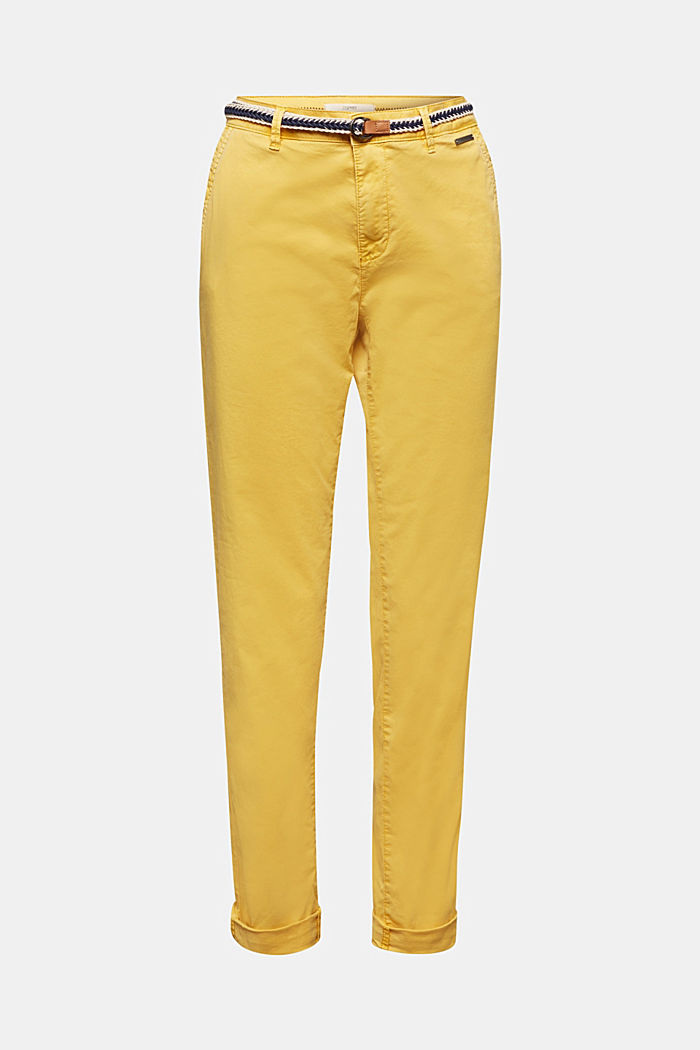 Summer chinos with belt and stretch, YELLOW, detail image number 5
