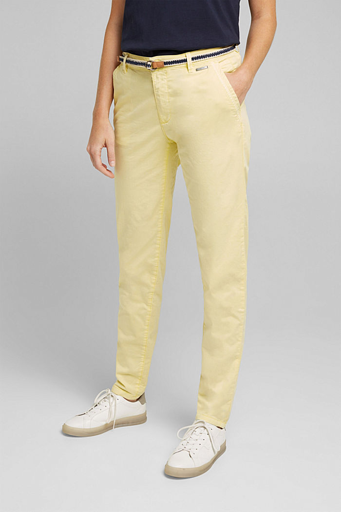 Summer chinos with belt and stretch, LIME YELLOW, detail image number 0