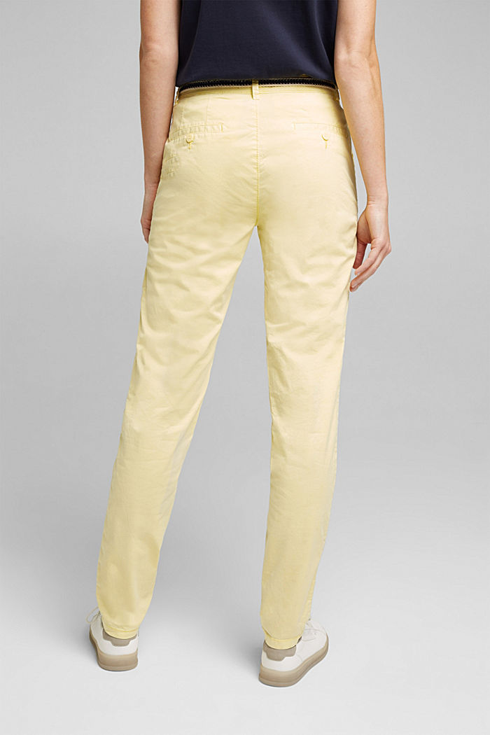 Summer chinos with belt and stretch, LIME YELLOW, detail image number 3