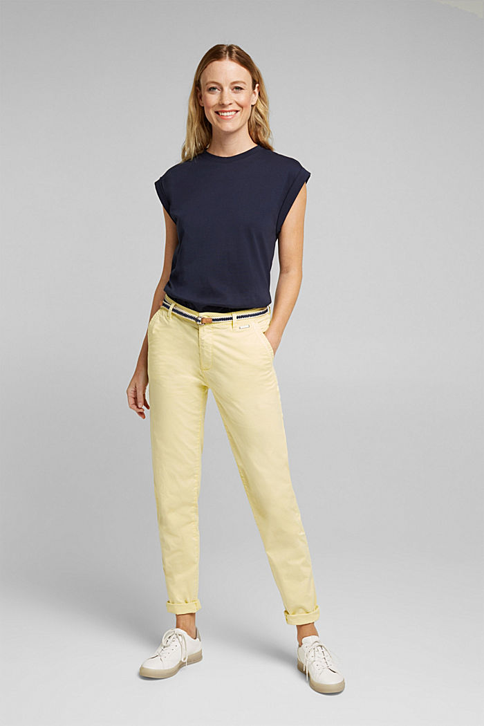 Summer chinos with belt and stretch, LIME YELLOW, detail image number 1