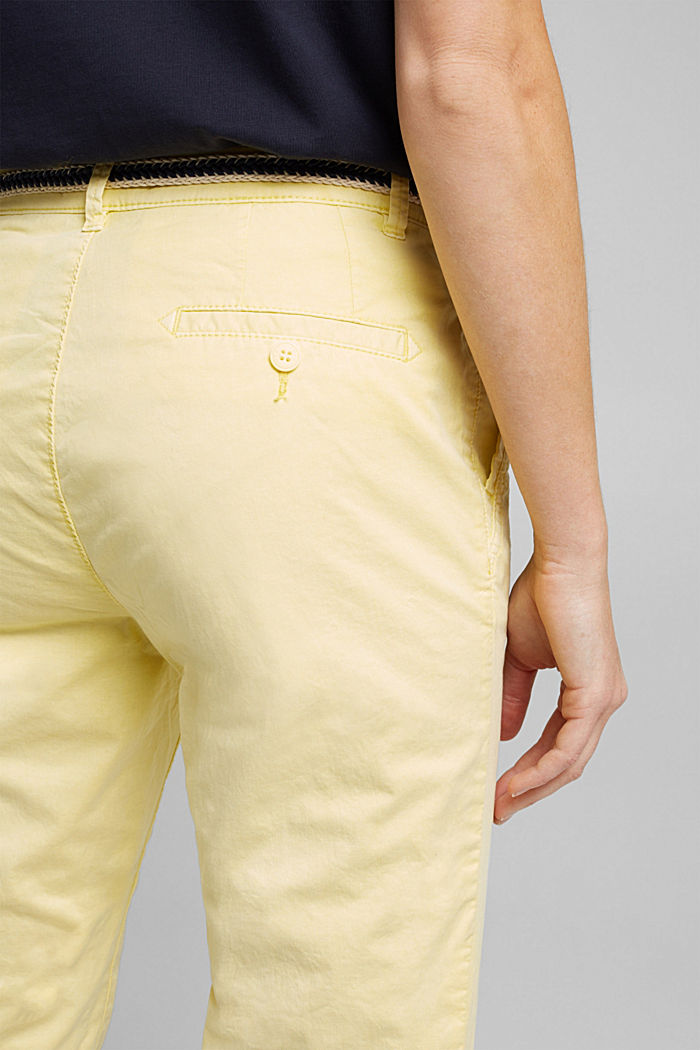 Summer chinos with belt and stretch, LIME YELLOW, detail image number 2