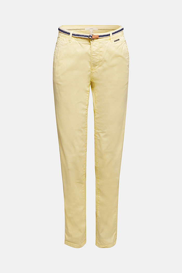 Summer chinos with belt and stretch, LIME YELLOW, detail image number 6