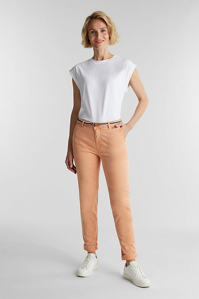 Summer chinos with belt and stretch, RUST ORANGE, detail image number 0
