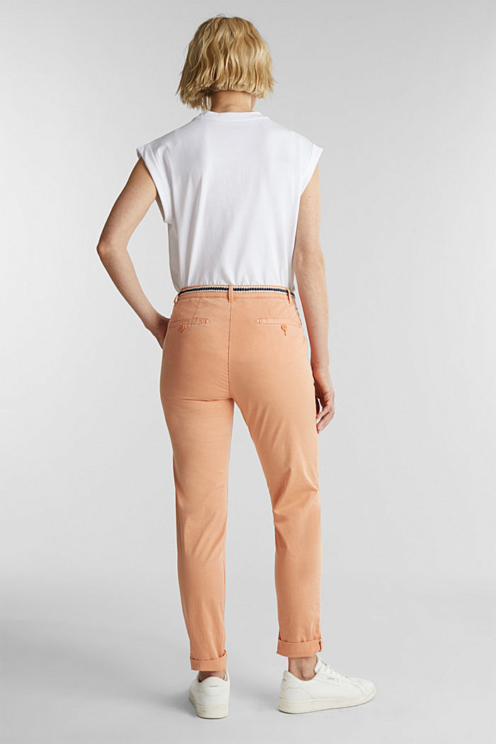 Summer chinos with belt and stretch, RUST ORANGE, detail image number 3