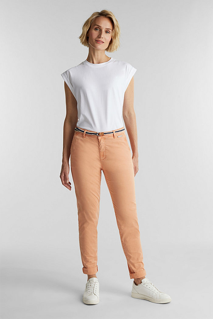 Summer chinos with belt and stretch, RUST ORANGE, detail image number 1