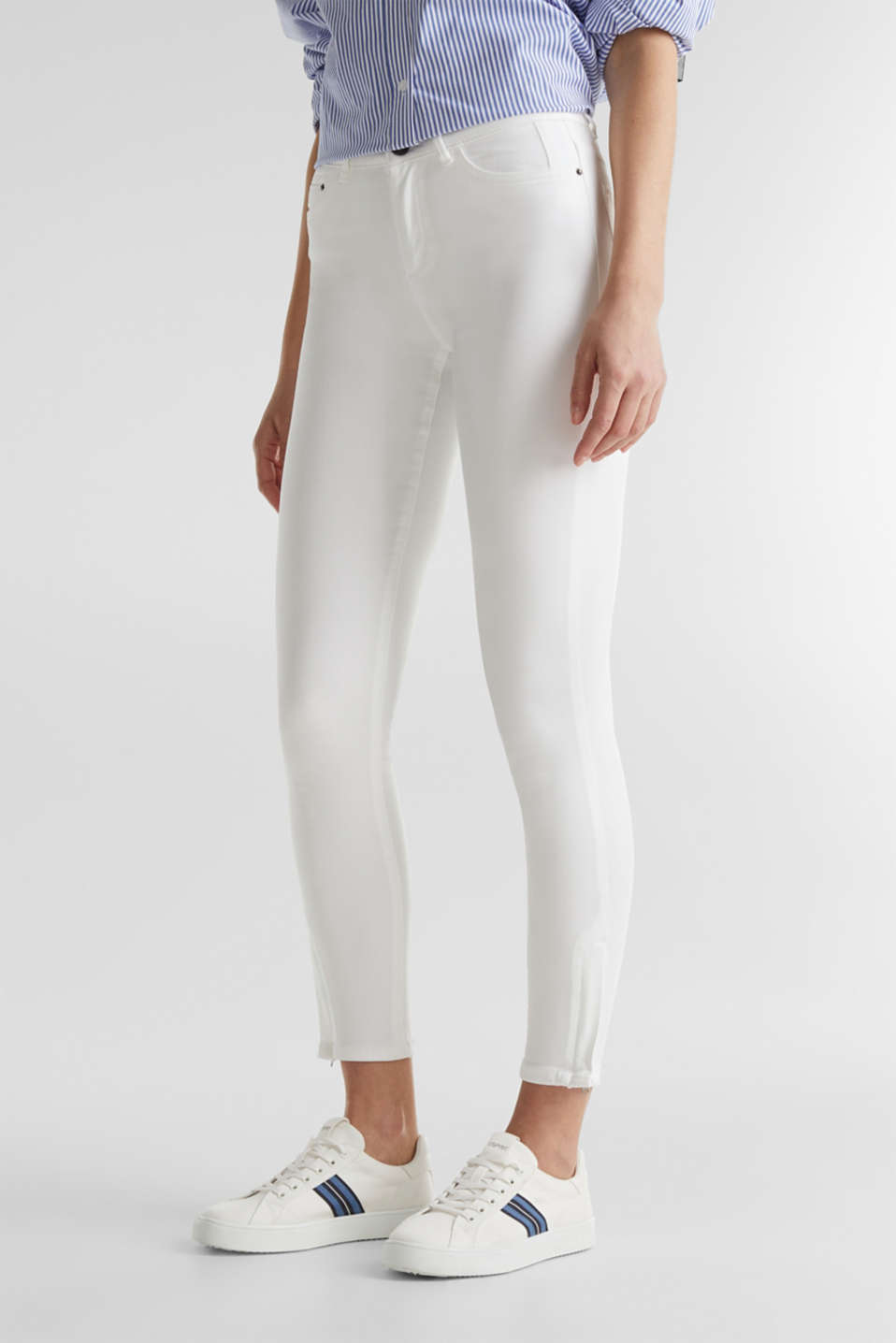 Ankle-length stretch trousers with hem zips, WHITE, detail image number 0