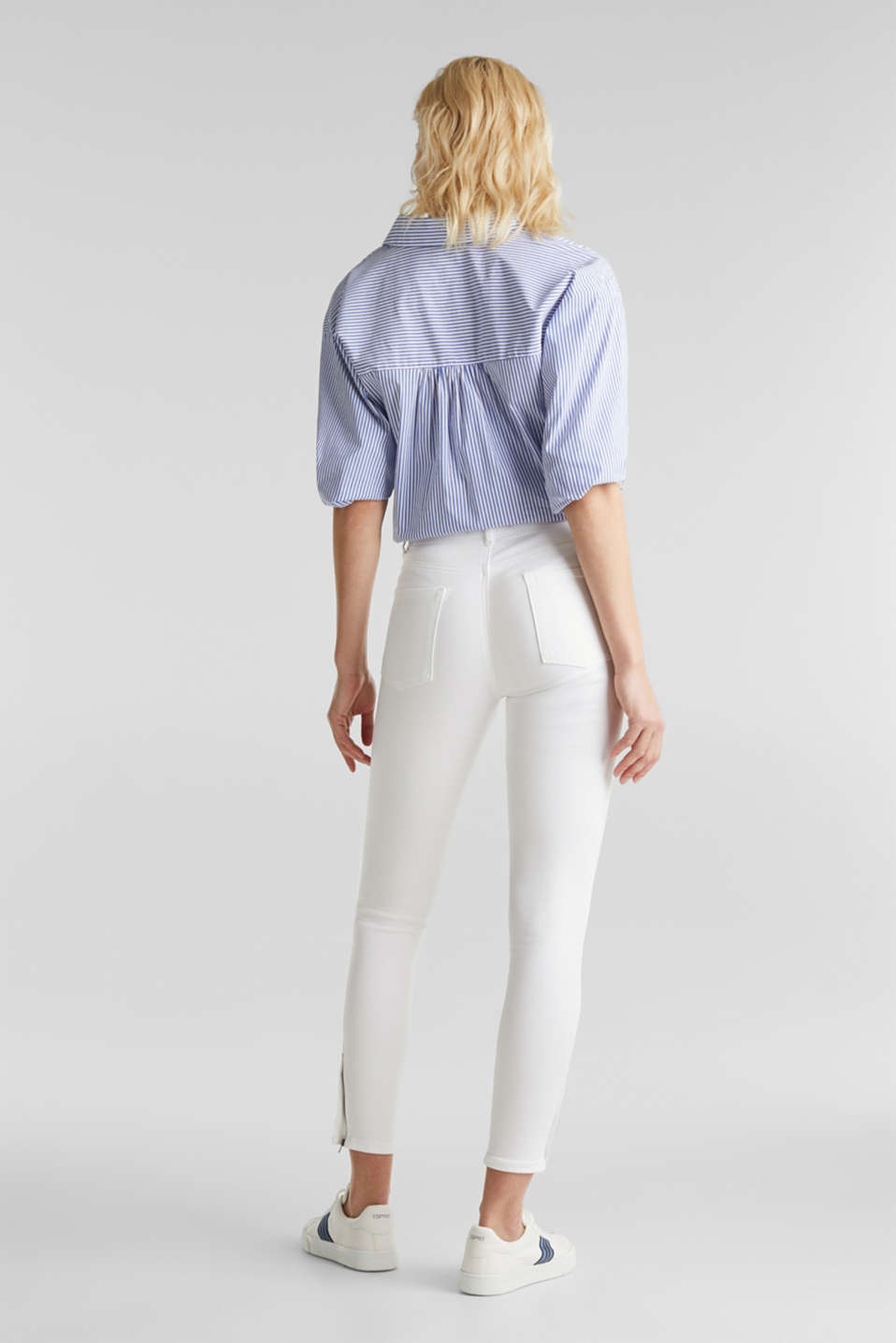 Ankle-length stretch trousers with hem zips, WHITE, detail image number 3