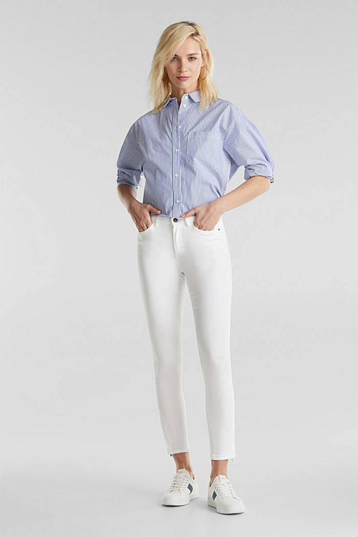 Ankle-length trousers with hem zips, WHITE, detail image number 1