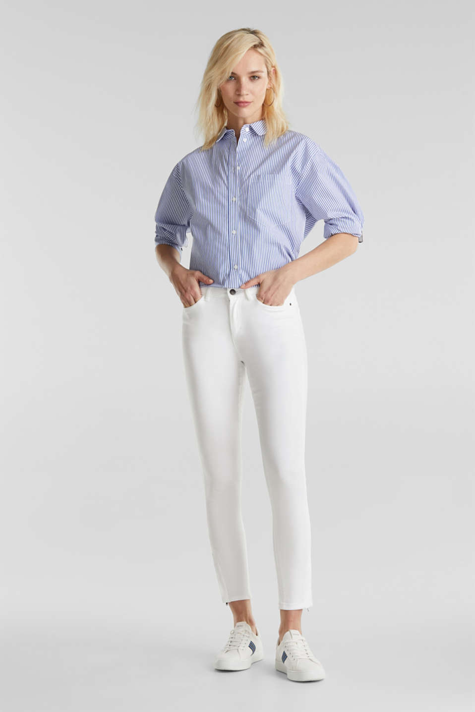 Ankle-length stretch trousers with hem zips, WHITE, detail image number 1