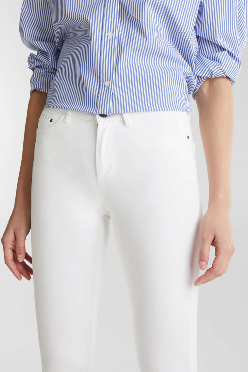 Ankle-length stretch trousers with hem zips, WHITE, detail image number 2