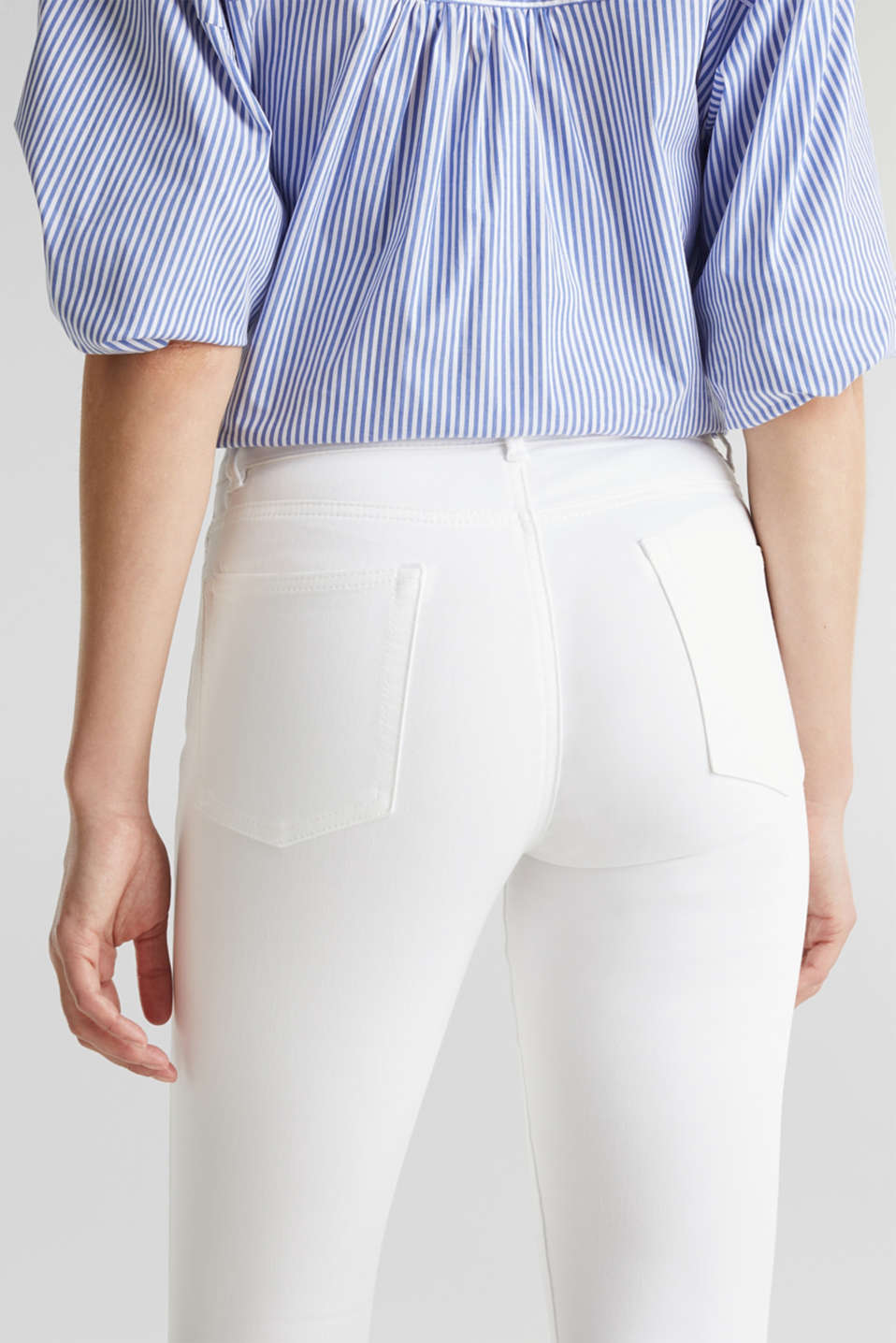 Ankle-length stretch trousers with hem zips, WHITE, detail image number 5