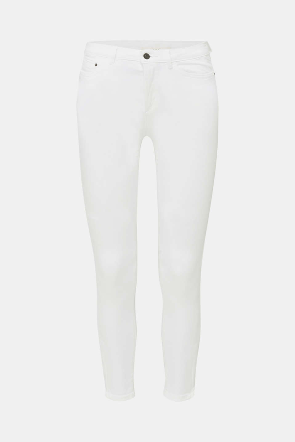 Ankle-length stretch trousers with hem zips, WHITE, detail image number 7