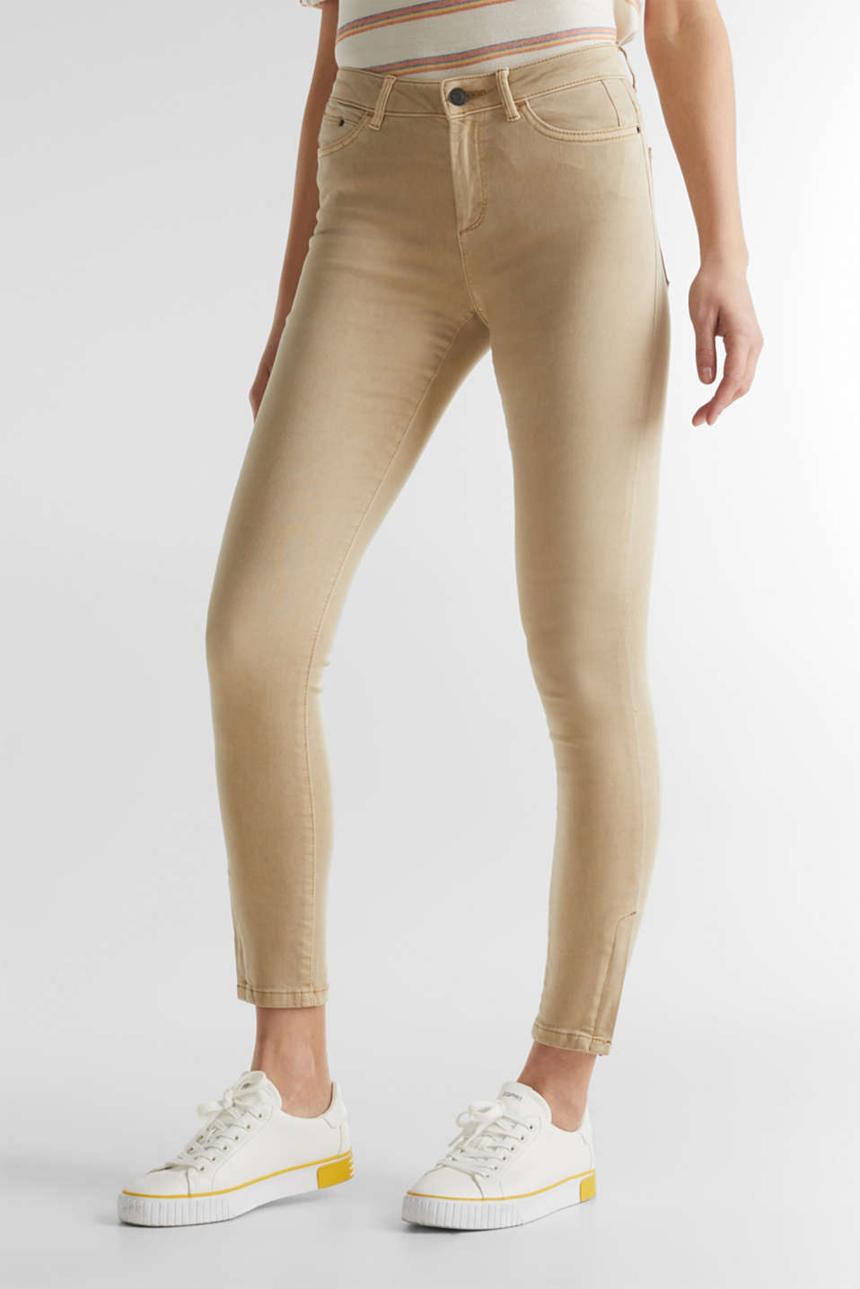 Ankle-length stretch trousers with hem zips, BEIGE, detail image number 0