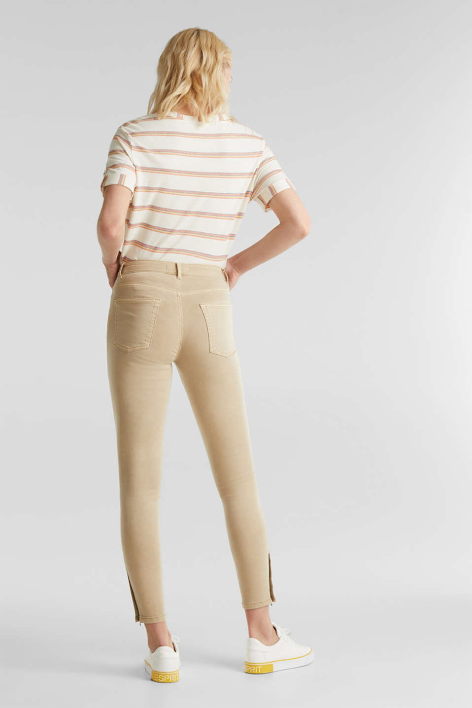 Ankle-length stretch trousers with hem zips, BEIGE, detail image number 3
