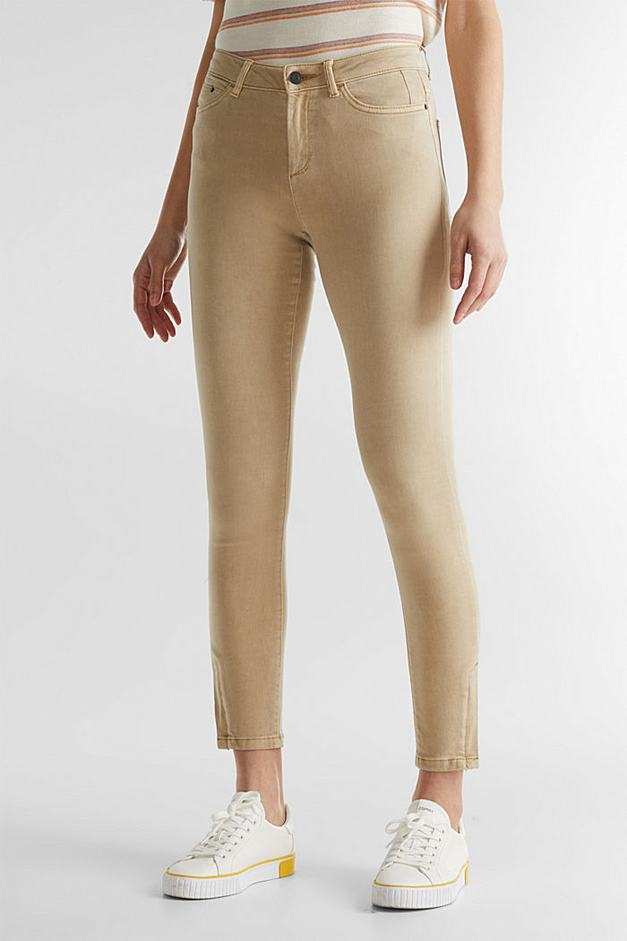 Ankle-length trousers with hem zips, BEIGE, detail image number 6