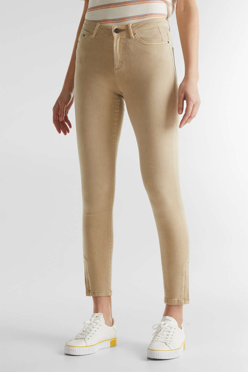Ankle-length stretch trousers with hem zips, BEIGE, detail image number 6