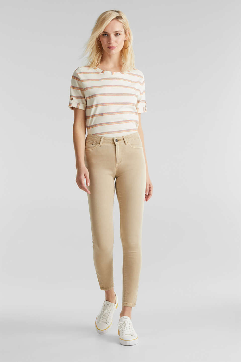 Ankle-length stretch trousers with hem zips, BEIGE, detail image number 1