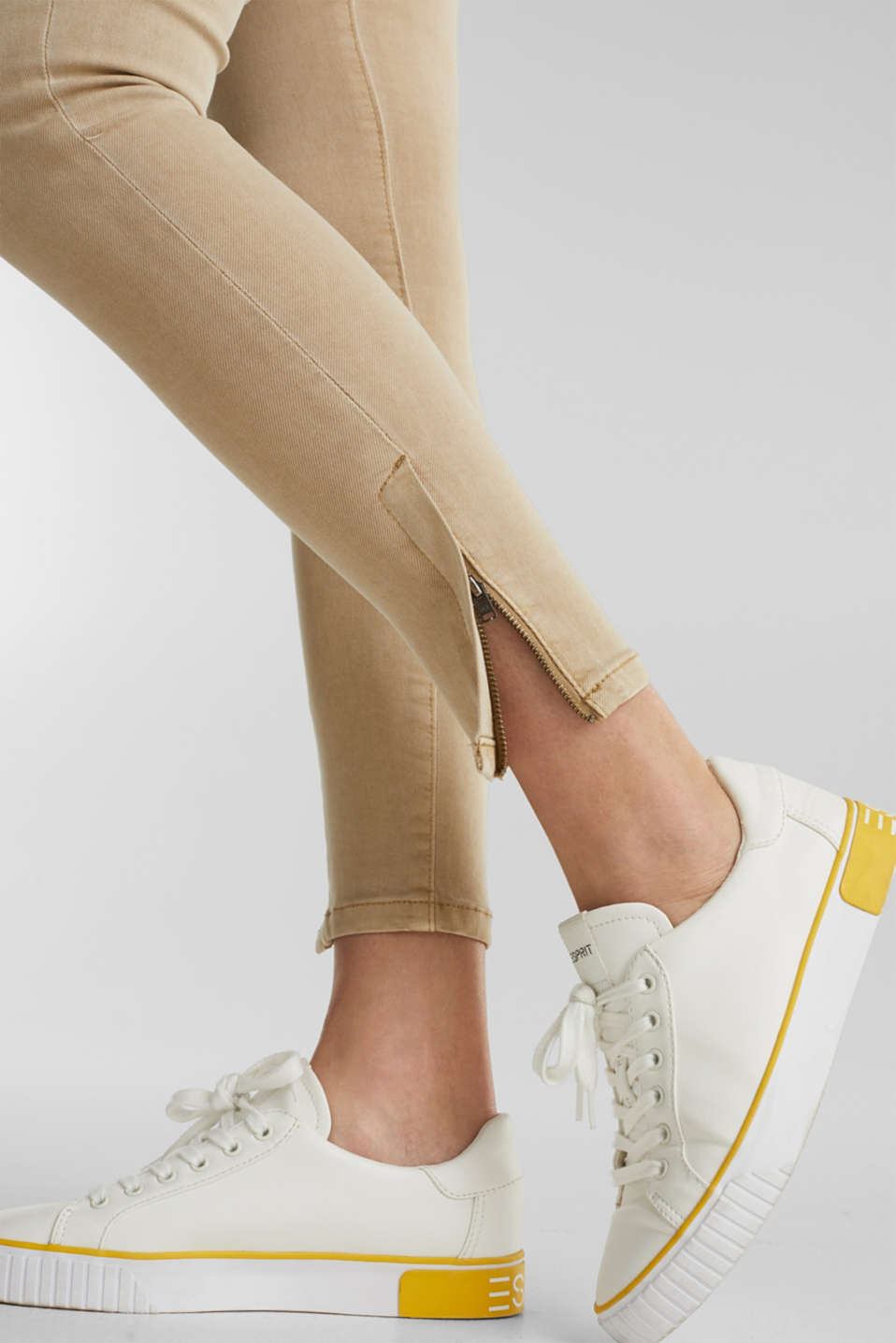 Ankle-length stretch trousers with hem zips, BEIGE, detail image number 2
