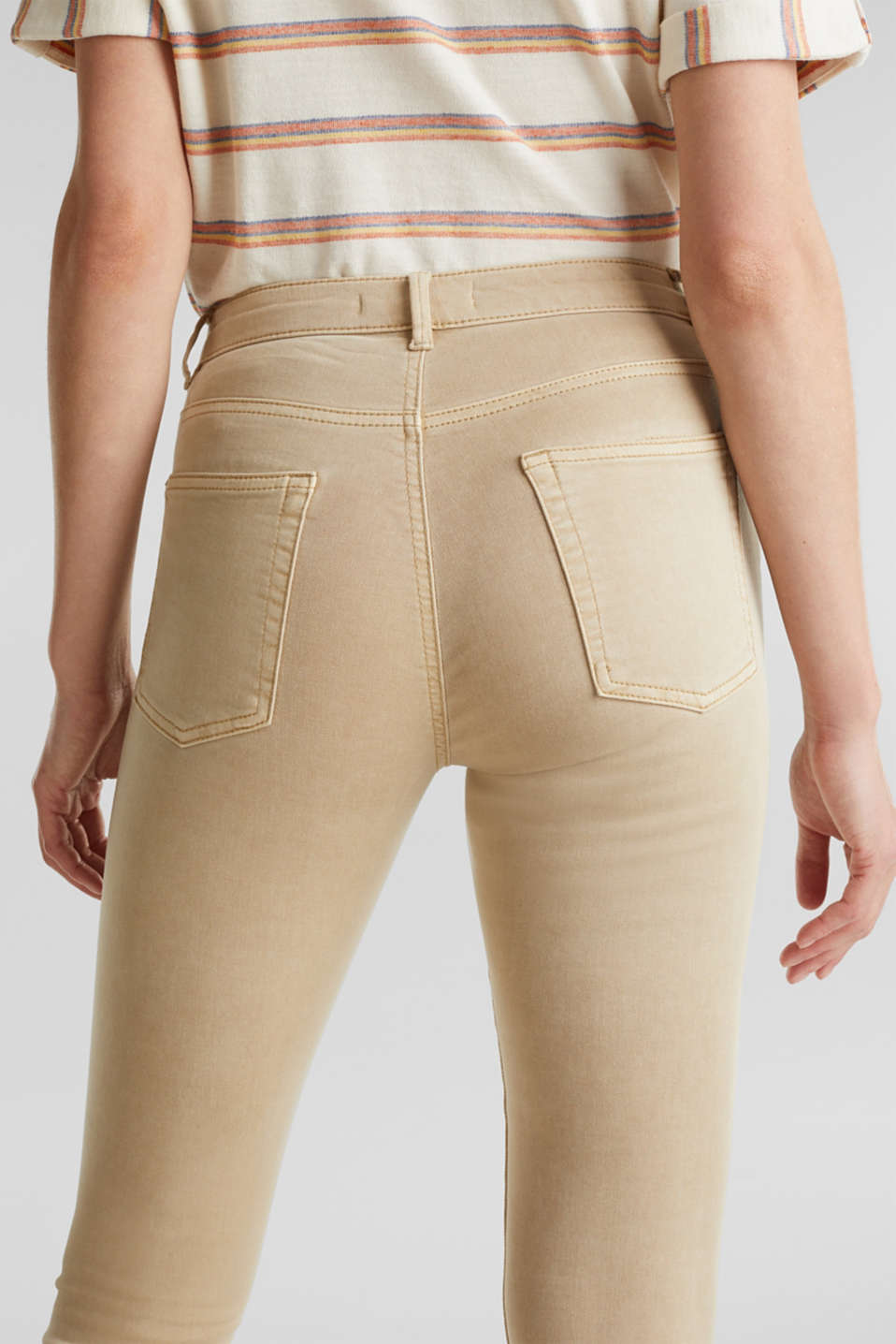 Ankle-length stretch trousers with hem zips, BEIGE, detail image number 5