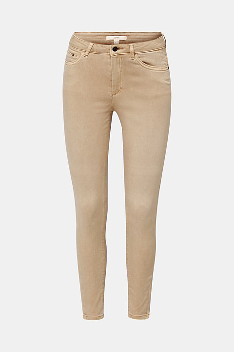 Ankle-length stretch trousers with hem zips