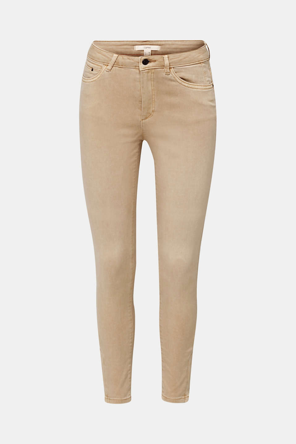 Ankle-length stretch trousers with hem zips, BEIGE, detail image number 7
