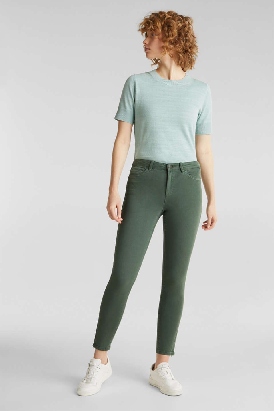 Ankle-length stretch trousers with hem zips, KHAKI GREEN, detail image number 0