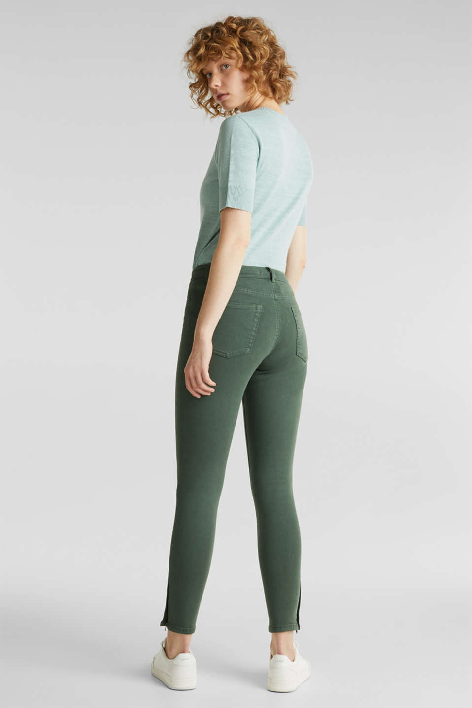 Ankle-length stretch trousers with hem zips, KHAKI GREEN, detail image number 3