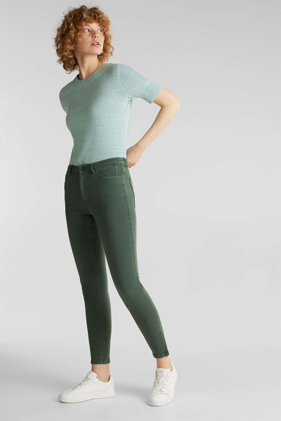 Ankle-length stretch trousers with hem zips, KHAKI GREEN, detail image number 5
