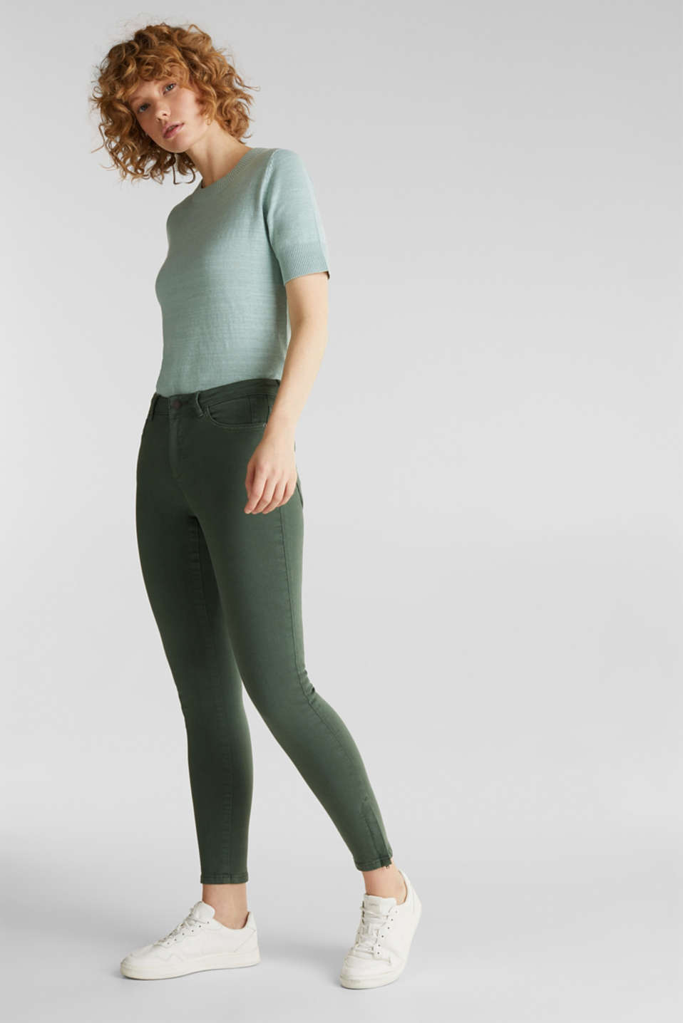 Ankle-length stretch trousers with hem zips, KHAKI GREEN, detail image number 1