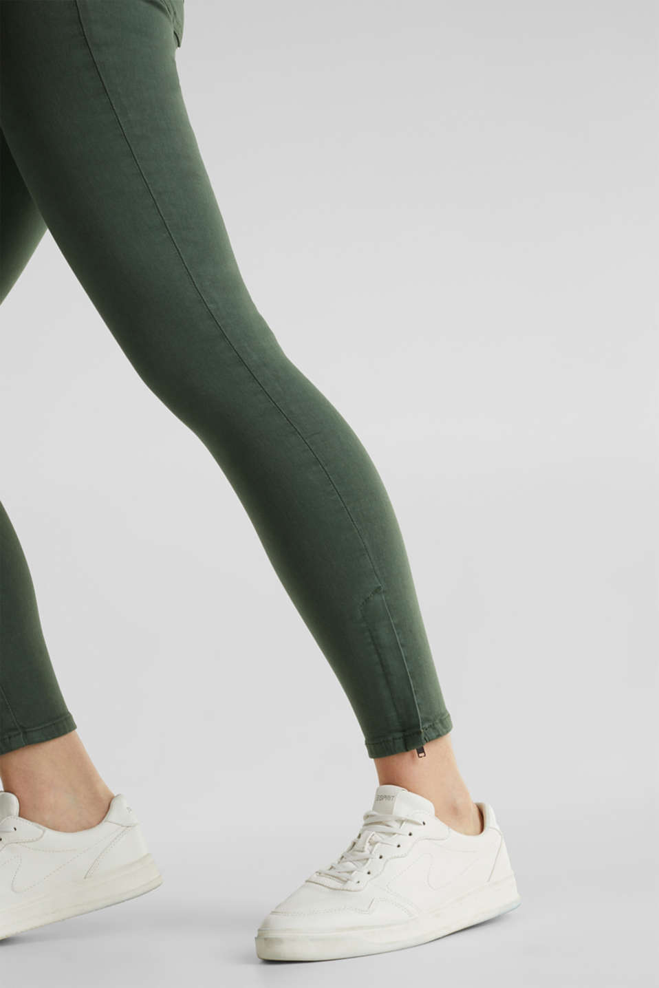 Ankle-length stretch trousers with hem zips, KHAKI GREEN, detail image number 2