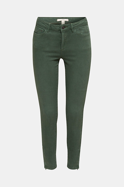 Ankle-length trousers with hem zips