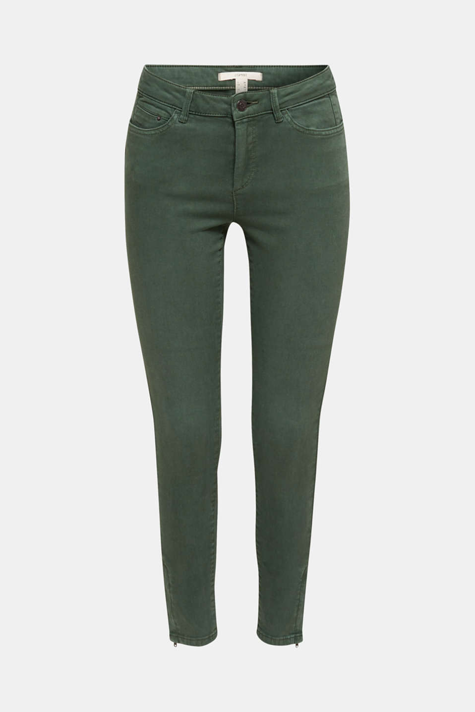 Ankle-length stretch trousers with hem zips, KHAKI GREEN, detail image number 6