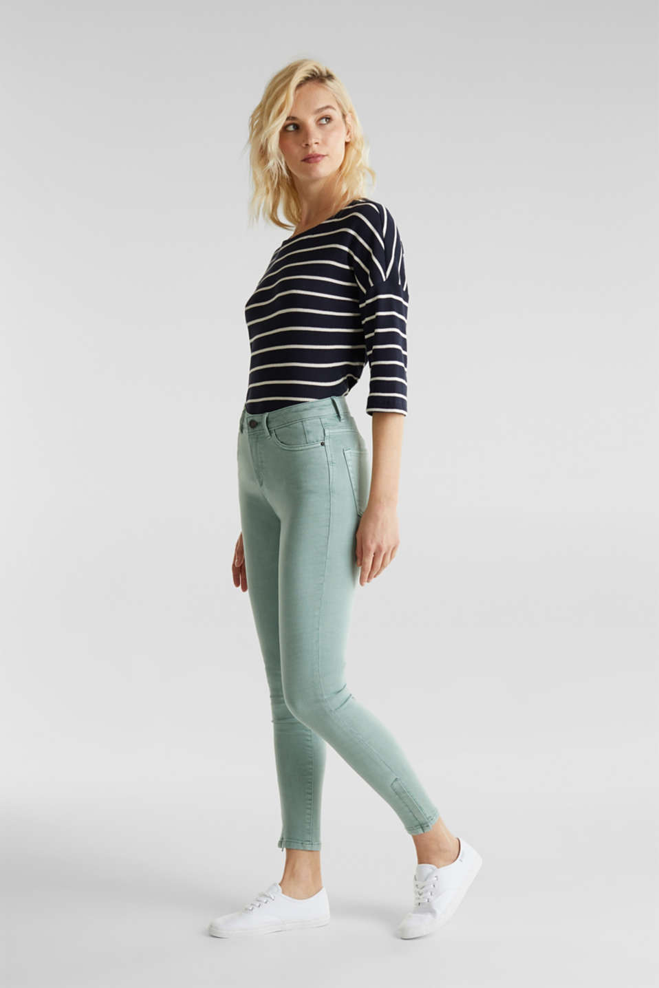 Ankle-length stretch trousers with hem zips, LIGHT AQUA GREEN, detail image number 0