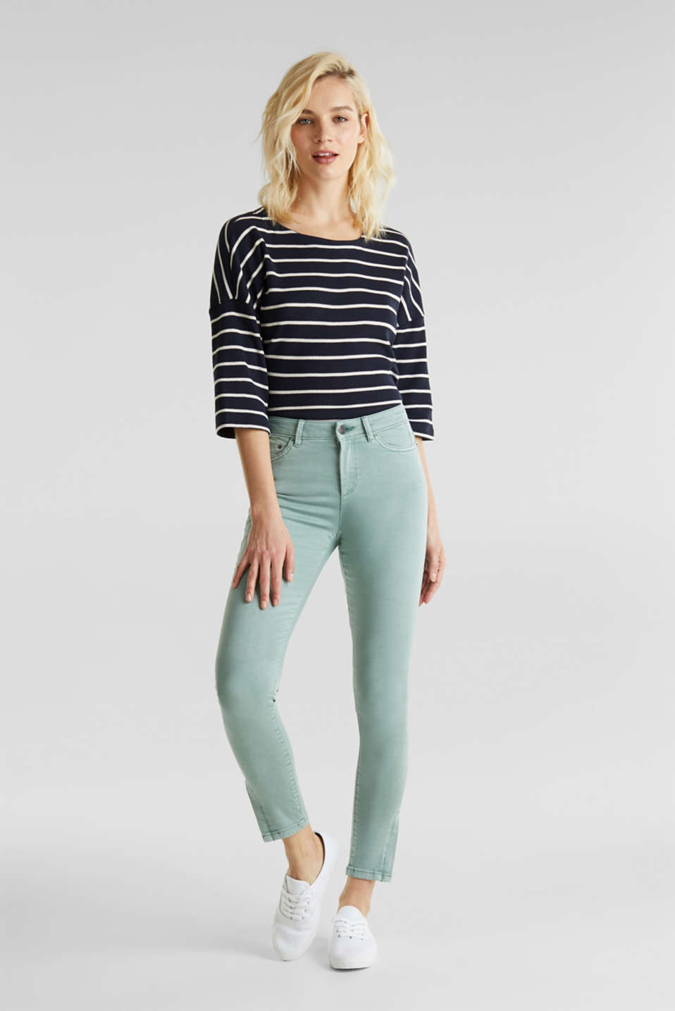 Ankle-length stretch trousers with hem zips, LIGHT AQUA GREEN, detail image number 1