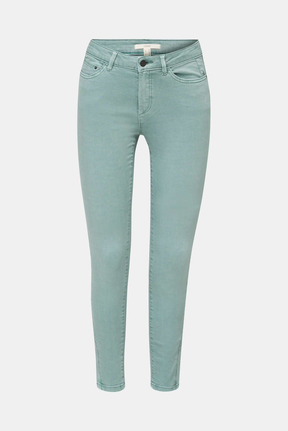 Ankle-length stretch trousers with hem zips, LIGHT AQUA GREEN, detail image number 7