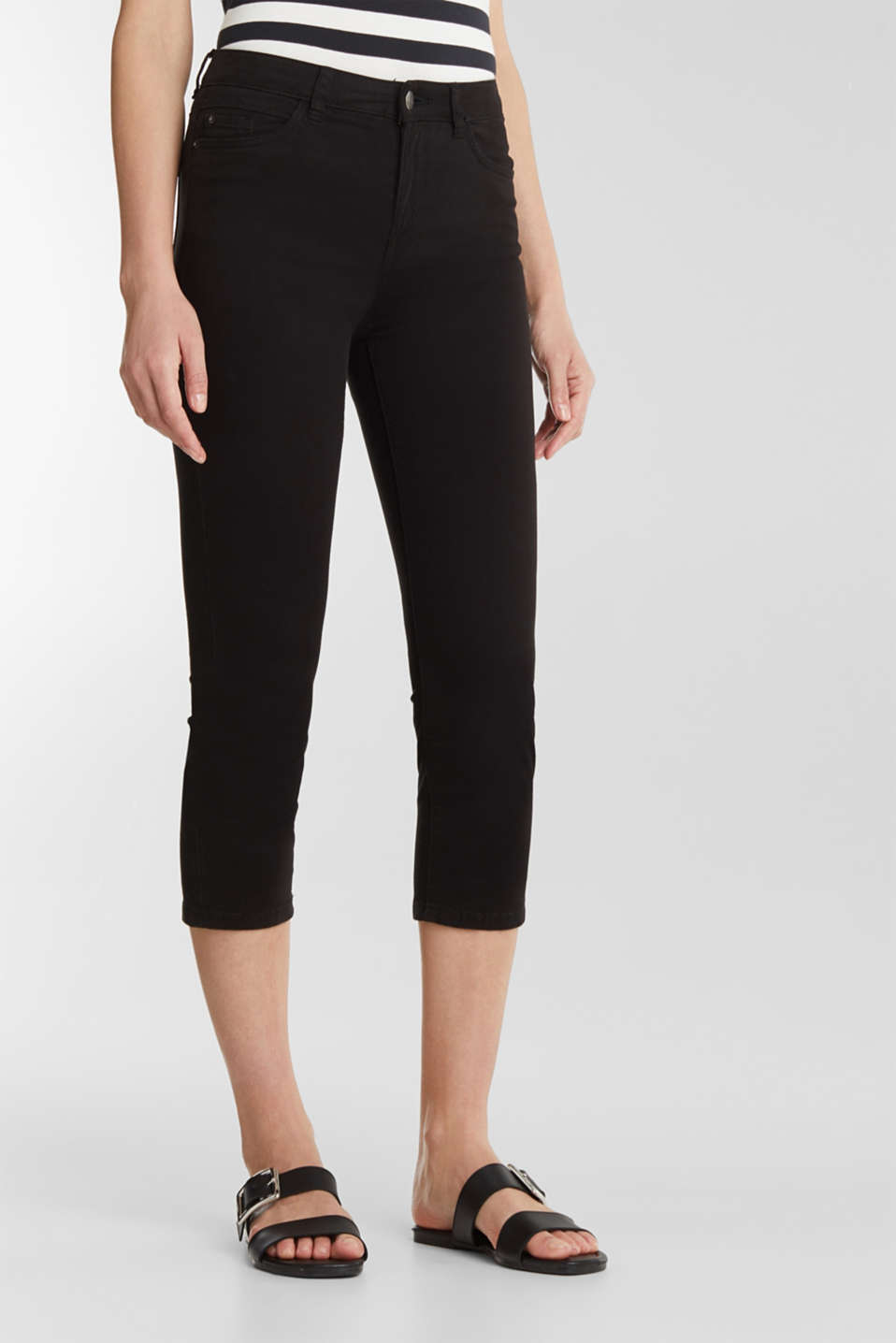 Soft Capri trousers with Lycra® xtra life™, BLACK, detail image number 6