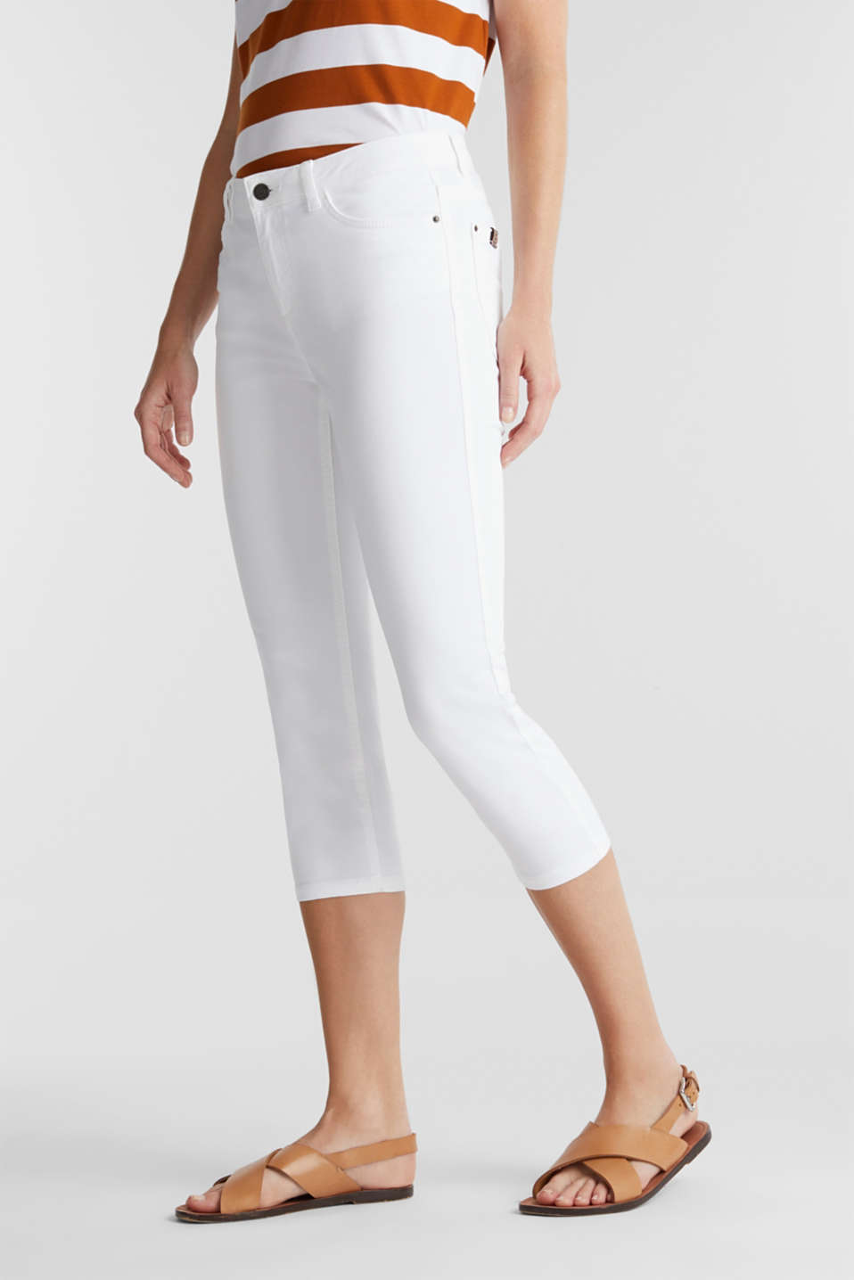 Esprit - Soft Capri trousers with Lycra® xtra life™