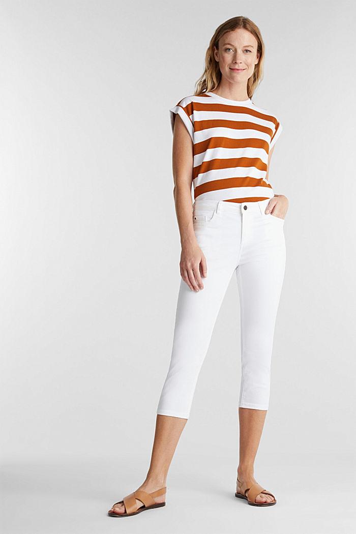 Pantalon doux de longueur corsaire à teneur en lycra xtra life™, WHITE, detail image number 1
