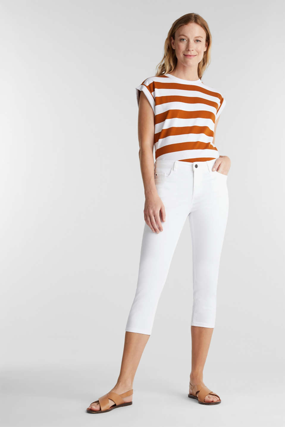 Soft Capri trousers with Lycra® xtra life™, WHITE, detail image number 1