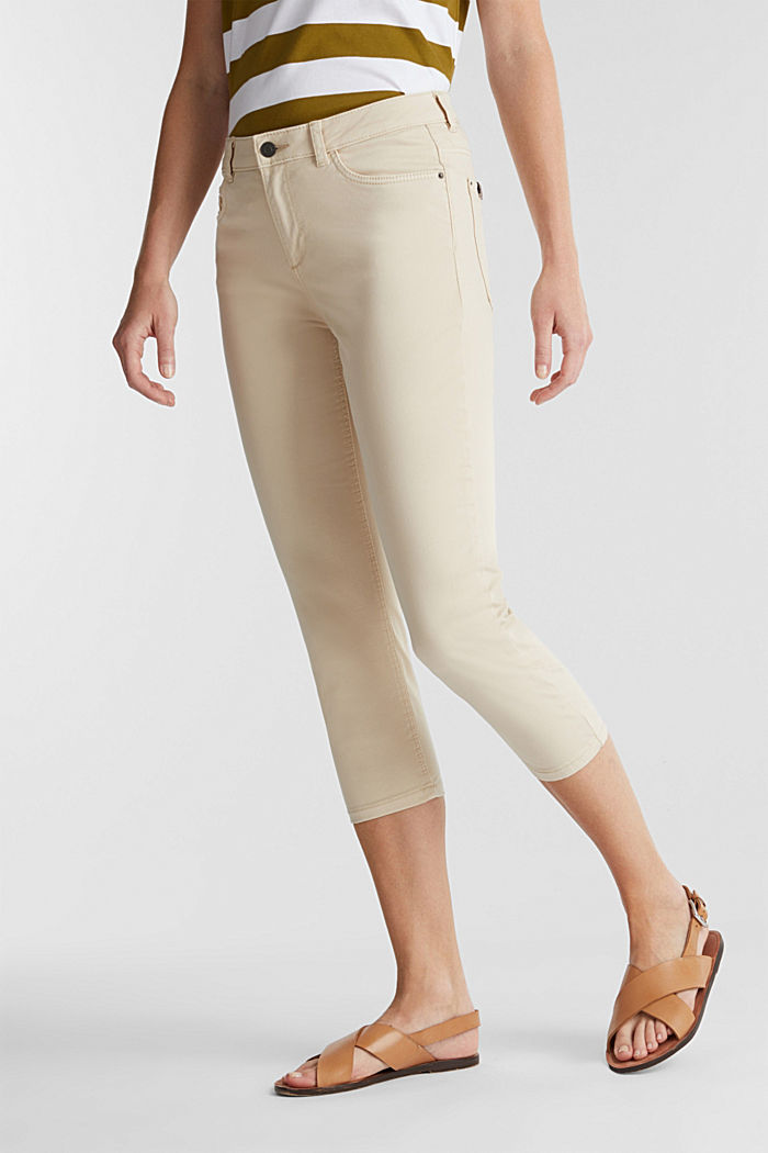 Soft Capri trousers with Lycra® xtra life™, LIGHT BEIGE, detail image number 0