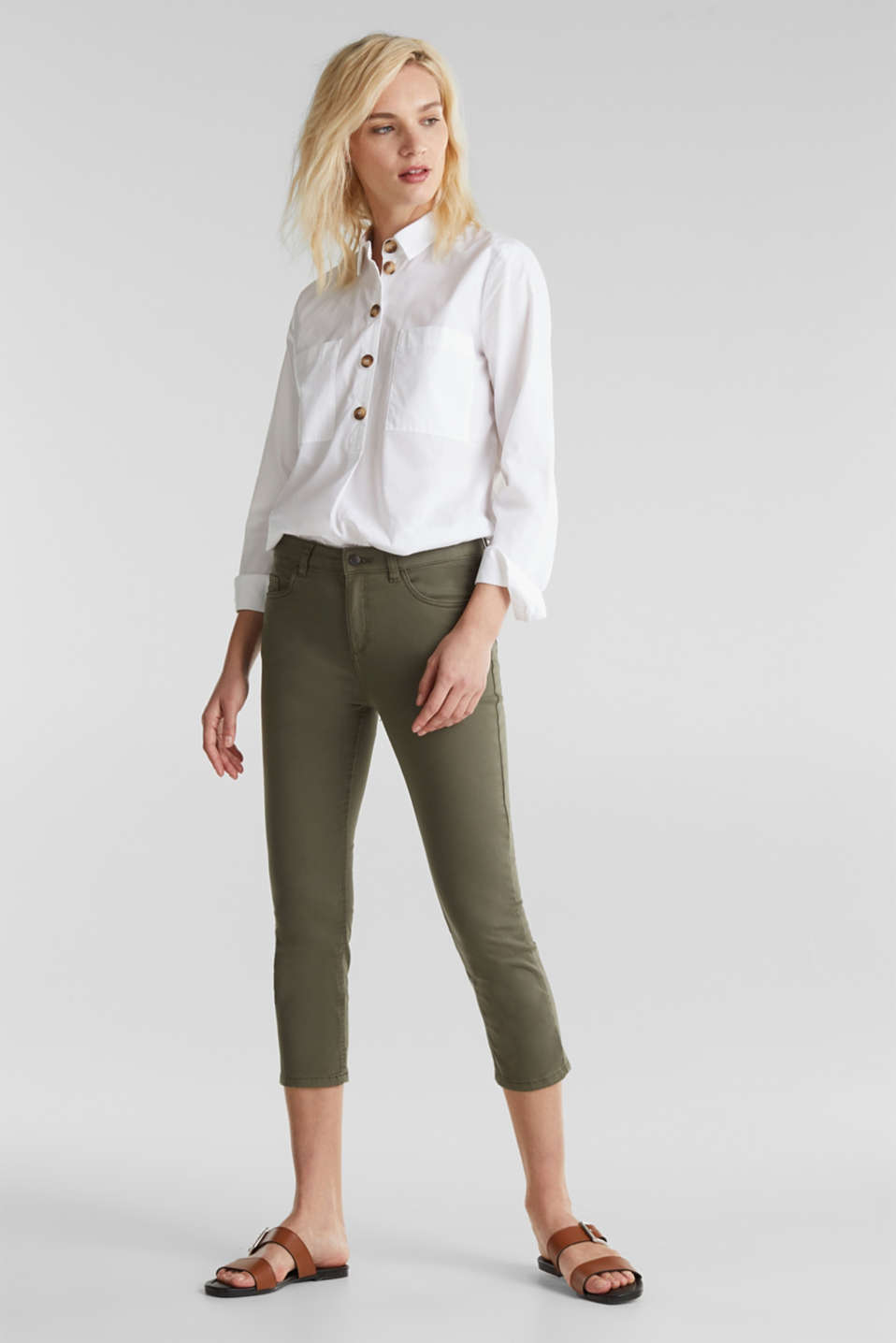 Soft Capri trousers with Lycra® xtra life™, KHAKI GREEN, detail image number 0