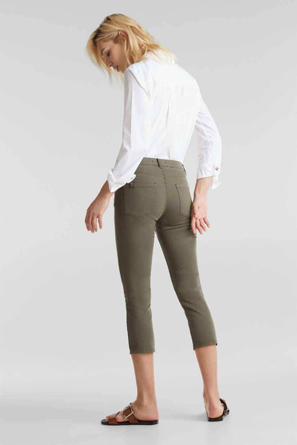 Soft Capri trousers with Lycra® xtra life™, KHAKI GREEN, detail image number 3