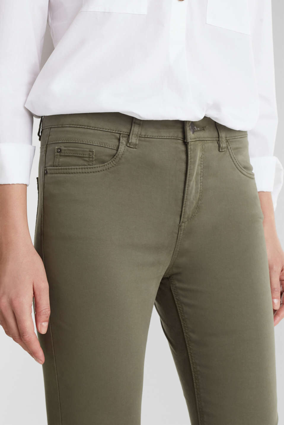 Soft Capri trousers with Lycra® xtra life™, KHAKI GREEN, detail image number 2